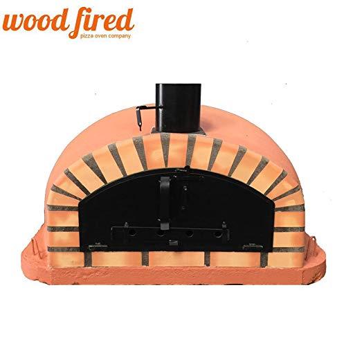 Terracotta Italian Wood Fired Pizza Oven, Orange Arch, Black Door, 100cm
