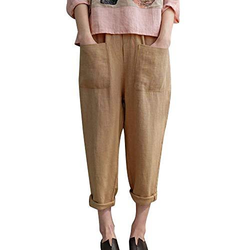 Yvelands Damen Mode Hosen Baumwolle Leinenmischung Tasche Übergröße Hosen Elastische Freizeithosen(Gelb,S)
