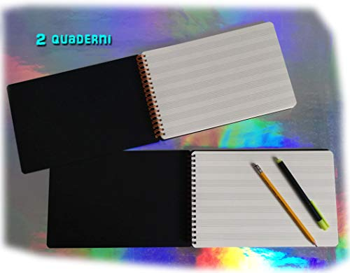 Set 2 blocchi pentagramma con spirale (foglio singolo 23x16cm) 50 fogli carta avoriata spessa 120gr