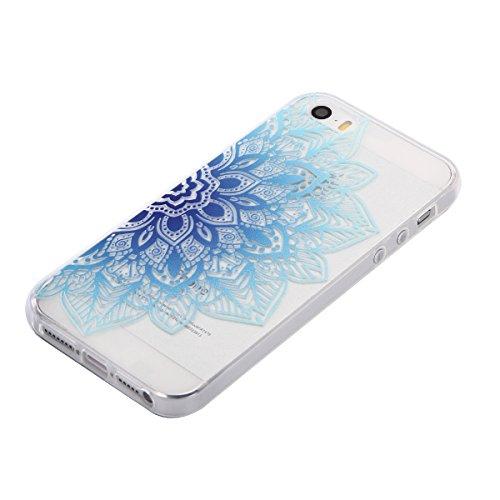 iPhone 5/5S/SE Hülle, E-Lush TPU Soft Silikon Tasche Transparent Schale Clear Klar Hanytasche für Apple iPhone 5/5S/SE Durchsichtig Rückschale Ultra Slim Thin Dünne Schutzhülle Weiche Flexibel Handyhü Blaue Blume