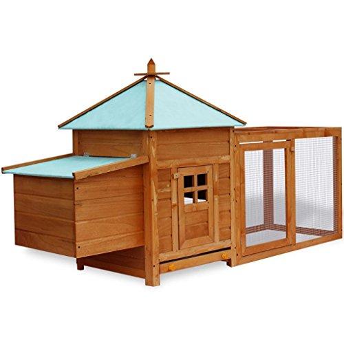 Vidaxl pollaio da esterno gabbia in legno per conigli roditori da esterno con recinto