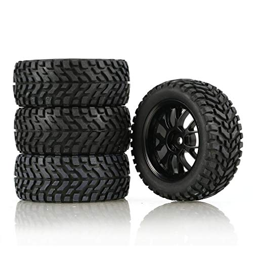 leoboone 4Pcs 75mm Rubber Rally Climbing Car Off-Road Wheel Rim and Tires Hex for HSP HPI 1:10 RC Racing Car Accessories Component