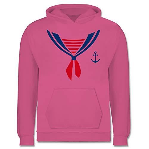 Seemann Kostüm Rosa - Shirtracer Karneval & Fasching Kinder - Seefahrer Kostüm Halstuch - 9-11 Jahre (140) - Rosa - JH001K - Kinder Hoodie