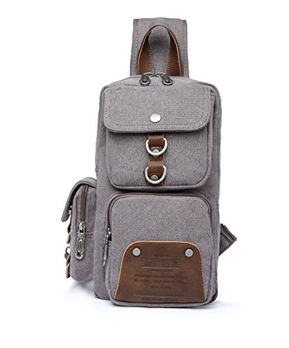 KAUKKO Unisex Schultertasche Bodybag Modische Canvas Vintage Schultertasche Herren Damen Brusttasche Outdoor Sports Umhängetasche Grau-1039 (Satchel Pocket Front Leder)
