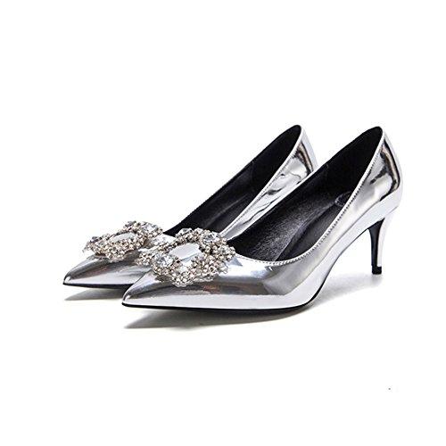 YIXINY Escarpin F338-2 Chaussures Simples Femme Soie + PU Faux Diamant Talon Mince Pointu La Bouche Peu Profonde Mariage Talons Hauts Argent