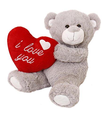 ILOVEFANCYDRESS I Love Fancy Dress lh0001-gb Weiches Valentine Teddy Bear, Grau
