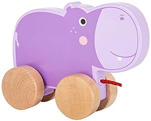 Small Foot 10611 - Juguete de Madera con un Bonito hipopótamo en Cuatro Ruedas Naturales y Cuerda Larga para Tirar a lo Largo