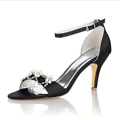 Wuyulunbi@ Scarpe donna raso elasticizzato estate della pompa base scarpe matrimonio Stiletto Heel punta aperta perla di cristallo per Party & abito da sera Nero