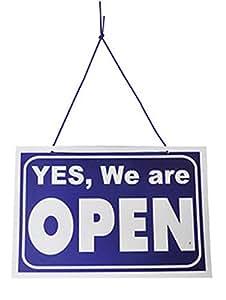 Ouvert / Fermé Signe Anglais (Open / Closed Blue Hanging Sign)