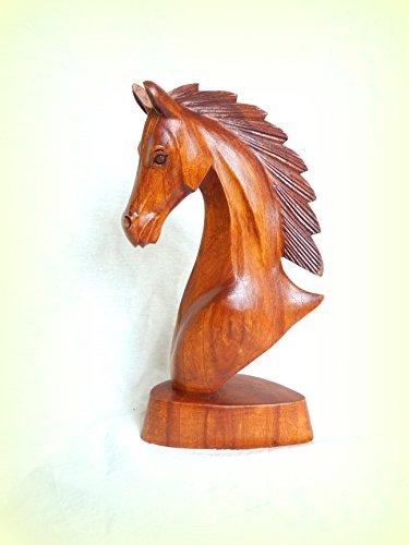 Pferdebüste Pferdekopf Pferd Holz Skulptur Holzfigur handgeschnitzt 20x18x10 cm