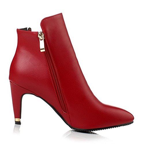 AgooLar Damen Niedrig-Spitze Reißverschluss Hoher Absatz Spitz Zehe Stiefel Rot