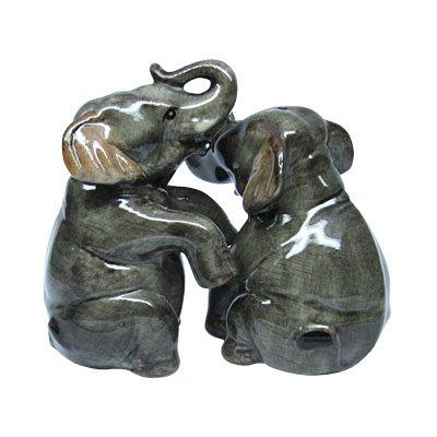 Frühstücks Set Zwei Eierbecher & Salz und Pfefferstreuer Set Elefanten 2 teilig-gesamt 4 teilig
