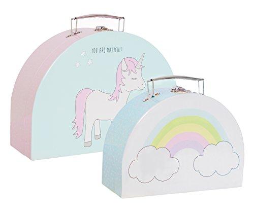 """JaBaDaBaDo 2er Kofferset\""""Einhorn & Regenbogen\"""" Koffer Spielkoffer Aufbewahrungskoffer Spielzeugaufbewahrung Pastell Kinderkoffer Kinderspielzeug"""