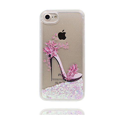 "iPhone 7 Coque, Skin Hard Clear étui iPhone 7, Design Glitter Bling Sparkles Shinny Flowing Apple iPhone 7 Case Cover 4.7"", (Grand Flamant) résistant aux chocs et Bouchon anti-poussière # 2"