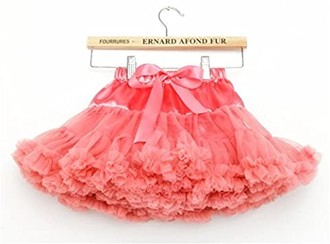 Toddle Girls' 3 Layered Pleated Tulle Tutu Skirt Princess Ballet Dress 2-4 Years/S,Coralred