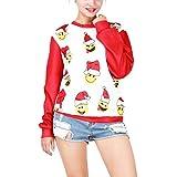 Fenverk_Weihnachten Drucken Bluse Schulterfrei Tops Hemd Christmas Damen Kapuzenpullis Frauen Hemden Lose Pullover Mantel Sweatshirts Blusen Outerwear T-Shirt Kapuzenpullover(Rot 2,L)