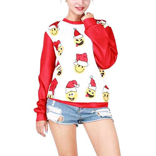 Yazidan Damen Weihnachtspullover Rudolph Drucken 3D Nase Rentier Elfe Weihnachten Pullover Sweatshirt Pullovershirt Fashion Frauen Weihnachtspullover Lange Ärmel Star Rudolph Drucken Neuheit \n (Rudolph The Anzug)