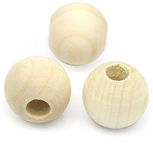 20perline in legno naturale, 25mm