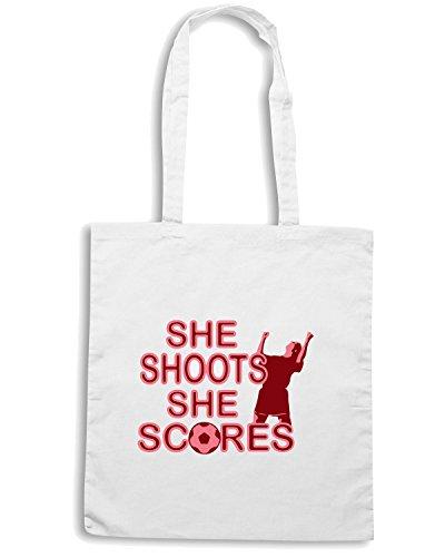 T-Shirtshock - Borsa Shopping WC1069 she shoots ladies soccer womens vneck tshirt Bianco