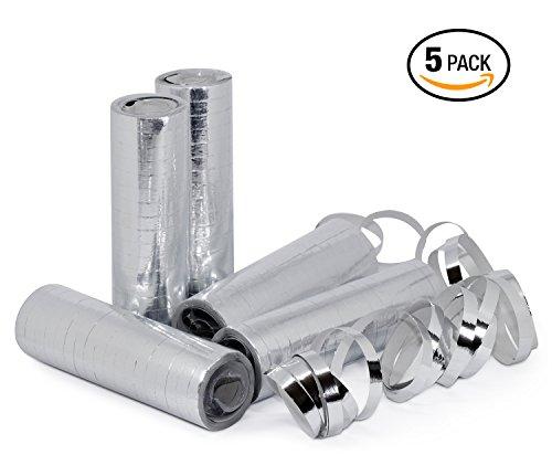 ngen Silber Metallic, 5er Pack PREMIUM Qualität Papierschlangen, 5 Stück metallic/weiß. Ideal als Deko für Silberhochzeit, Geburtstag, Veranstaltung, Karneval und Silvester. ()