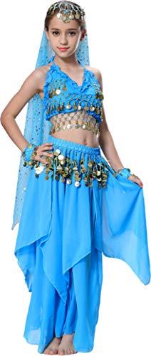 Kostüm Kind Trägt Ein - Seawhisper Bauchtänzerin Kostüm Kinder Bollywood Kostüme für Mädchen 140 146 Blau