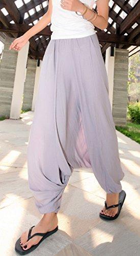 Aivtalk - Damen Sommerhose Tiefer Schritt Hose Leinen Hosen Grau