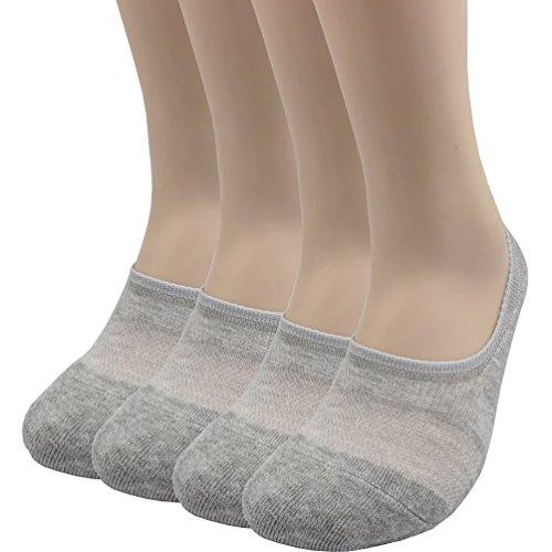 Pro Mountain Keine Show Toe Kissen Sportliche Baumwolle Footies Sneakers Sport Socken (M (Uk Schuhe 6 ~ 8), Graue 4Paare M-Packungsgröße) -
