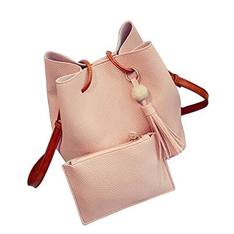 Chinget Damen Mode PU Leder Handtaschen Schulter Beutel Tote Beutel und Geldbörse Tasche Set of 2 (Rosa)