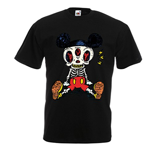 Männer T-Shirt Skelett einer Maus (Large Schwarz Mehrfarben) (Geschichte Batman Kostüm)