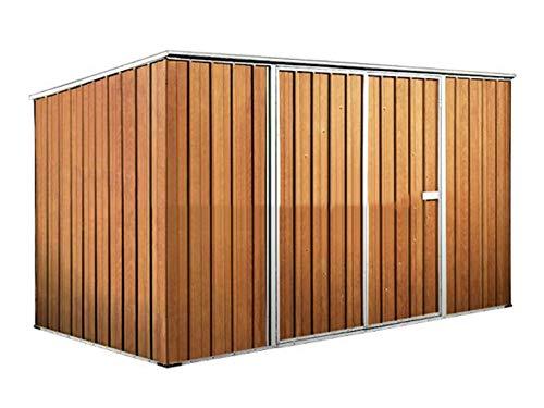 notek box in acciaio zincato casetta da giardino in lamiera 3.45 x 1.86 m x h1.92 m - 98 kg - 6 metri quadri - legno