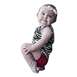 Sunward Summer Toddler Baby Baby Boys Girls Cotton Crewneck Short Sleeve Zebra Stripe T-Shirt (3-6M