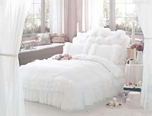Fadfay Diaidi Parure de lit de luxe 4 pièces avec housse de couette à dentelle et volants Motif pois Blanc Lit de 160 x 200 cm