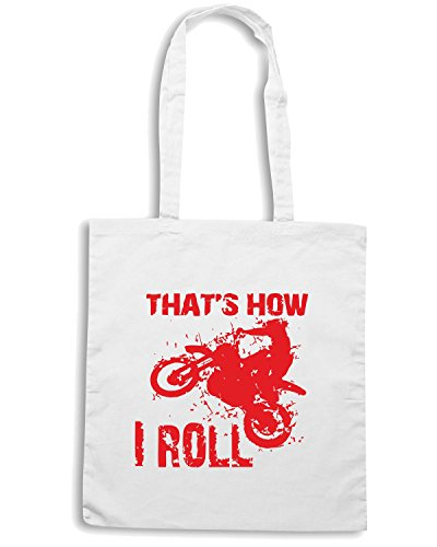 T-Shirtshock - Borsa Shopping OLDENG00192 motorcycle thats how i roll Bianco