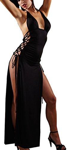 Shangrui Femmes Casual Cocktail de Split Noir Party Club Robe Haute Fente Nuisette