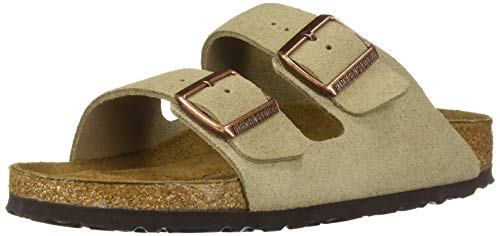 flip flops damen mit fu bett Birkenstock  –Arizona, Unisex-Sandalen mit 2 Riemen, Kork-Fußbett, Braun - Braungrau - Taupe Suede - Größe: 46 EU