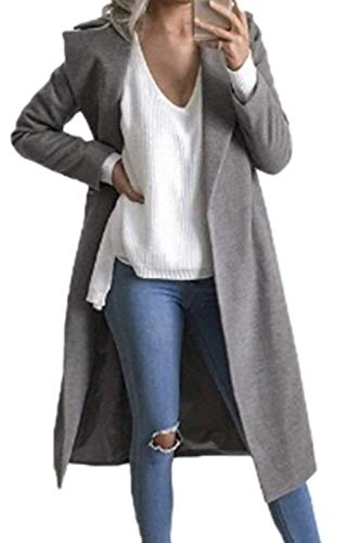 Damen Mantel Frühling Herbst Freizeit Longsleeve Übergangsmantel Lang Party Stil Fit Relaxed Fashion Unifarben Revers Trenchcoat Mantel Mädchen (Color : Grey, Size : L)