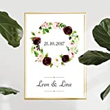 Personalisiertes Bild Blumenkranz Hochzeit mit oder ohne Rahmen | Hochzeitsgeschenke | Geschenke für Paare