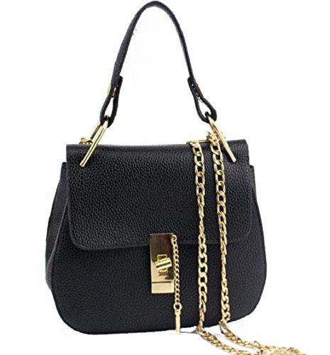 Tongshi süße große PU Leder Tote Schultertasche Handtasche Damen Messenger Kette plaid (schwarz) -