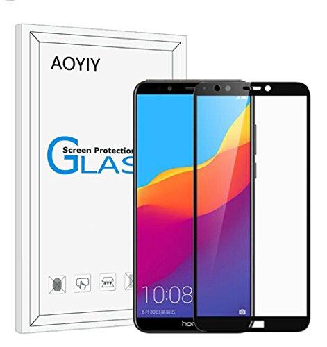 AOYIY Huawei Honor 7C Vollbild Panzerglas, Gehartetem Glas Folie Schutzfolie,Displayschutzfolie für Huawei Honor 7C Kratzfest,9H Härtegrad Gehärtetem Glas Displayschutzfolie-Schwarz