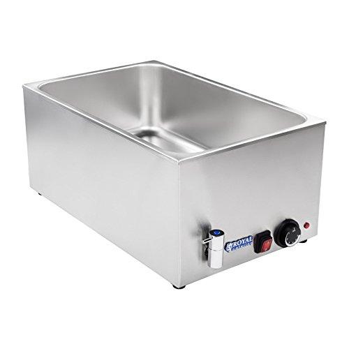 Royal Catering RCBM-1/1-150A Bain Marie Wasserbad Speisenwärmer Buffetwärmer (1200 W, 50–95 °C, Ablasshahn, GN 1/1, 56x33,5x24,5 cm, Edelstahl, ohne GN Behälter)