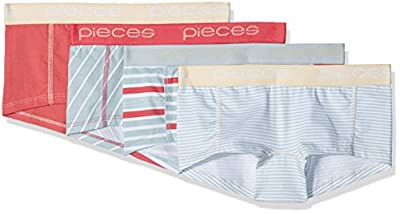 PIECES Women's Pclogo Lady Boxers 14-163 Stripes 4 Pack Boy Short