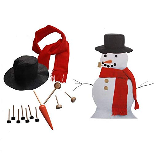 JIASHU Schneemann Kit -Perfect Schneemann Dekorieren Kit-13 Stück-Winter Outdoor Fun Toys Beinhaltet Hut Kit Schal Augen Tube Mouth Button Nose Zubehör