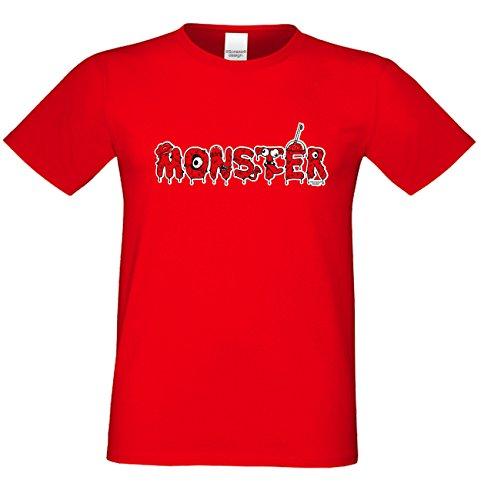 Grusel T-Shirt Herren Fun-Motiv Monster Geschenkidee Geburtstagsgeschenk Hexen Gespenster Geister Farbe: rot Rot