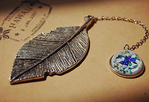 Handmade foglia segnalibro con fiore stampato rotonda segnapagine DIY Art Craft accessori regali (blu)