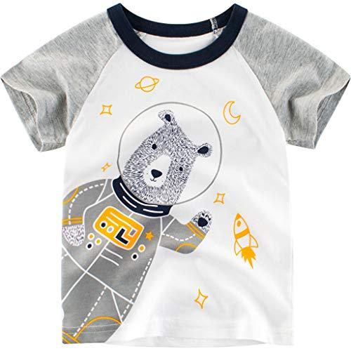 JUTOO Neugeborenes Kindersommer-Baby-Karikatur-Brief-Druck-T-Shirt übersteigt Basis-Hemd-Kleidung (Weiß,90)