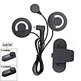 FreedConn Microphone Headphone Soft Cable Headset & Clip Accessory for T-COMVB and T-COMSC Series Motorcycle Helmet Bluetooth Interphone Motorbike Intercom