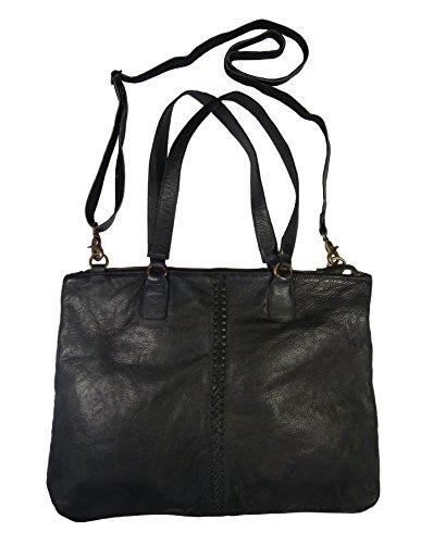 Rubicon Lederhandtasche 270/3800 mit Flechtdetail, groß in Farbe 100 schwarz 100 schwarz