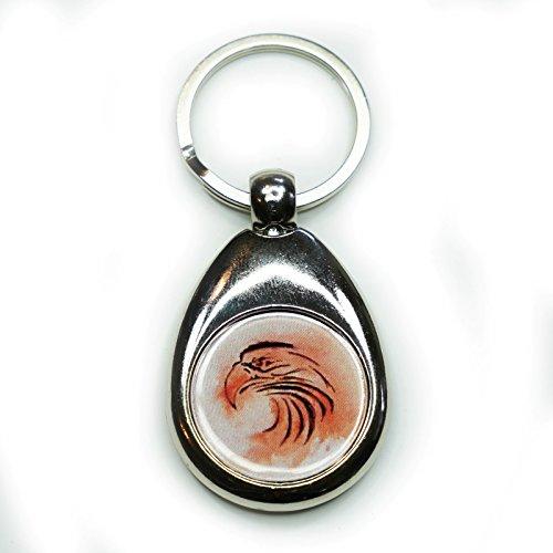 Schlüsselanhänger 'Falke' mit Einkaufschip, indianische Sternzeichen, handgemalt, für Männer und Frauen