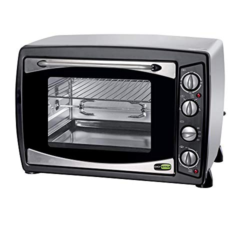 Gio stile gysf050 forno elettrico ventilato piccolo, girarrosto, doppio vetro, fornetto acciaio per pizza, timer, fornello, 3 funzioni cottura, 50 litri