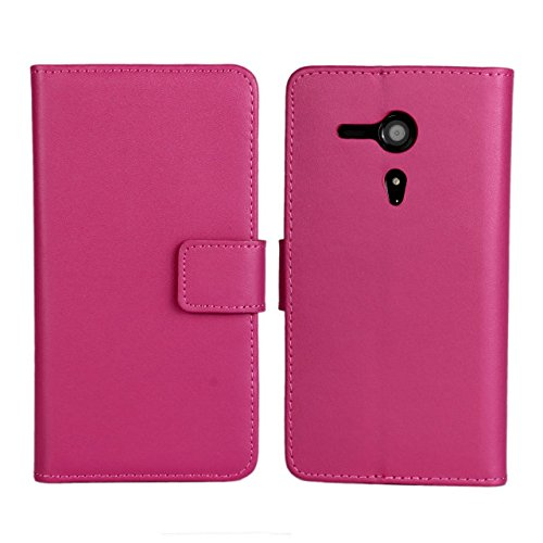 UKDANDANWEI Sony Xperia SP Hülle - Book-Style Wallet Case Flip Cover Etui Tasche Case mit Standfunktion Für Sony Xperia SP C5302 C5303 M35H Hot Rosa